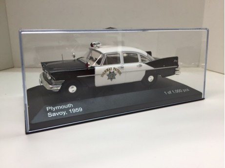 Plymounth Savoy California Highway Police zwart / wit 1959 1/43